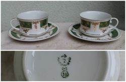 Porcelianiniai puodeliai su lekstutemis. Pagaminta: 1955-1958 m. 2 vnt. Baravinka porceliano gamykla, Ukraina. Kaina 42 eur uz abu.