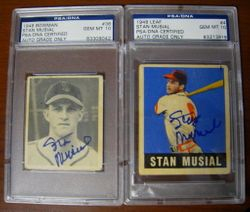 1948 Stan Musial Bowman and Leaf Rookie Card PSA PERFECT 10 AUTOGRAPHS