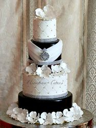 Dark Brown/ Black Wedding cake with bling