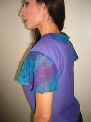 Purple and Stamps Sleeve Blouse $35