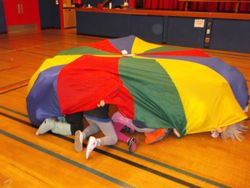 Gym and parachute play