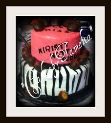 zebra print and pink Cake