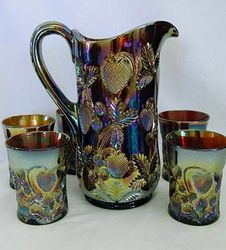 Inverted Strawberry tankard water set, amethyst, Cambridge Glass USA,