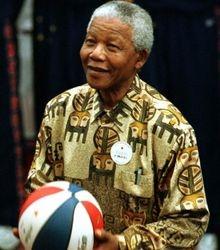Mandela throws a basketball