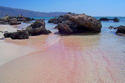 Elafonisi Beach , Crete, pink sand on sunrise time