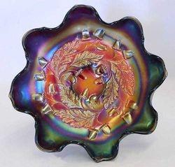"Acorn 7"" ruffled bowl, red"