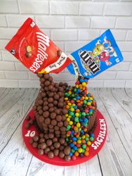 Malteser and m&m's gravity cake