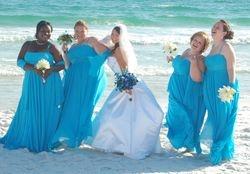 Blue Bridesmaids for a Beach Wedding