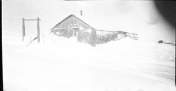 Sod house in the winter