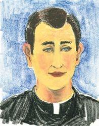 Roman Priest, Oil Pastel, 11x14, Original Sold
