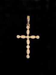 14k yellow gold cross with diamonds
