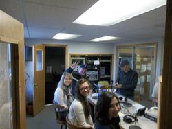 Ed, Maile, Kaitee & Jessica at the radio station in Omak