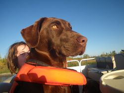 Maggie takes a boat ride