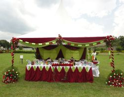Maroon and lime green wedding deco