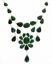 Mixed Cut Green Sapphire and Sterling Silver Necklace