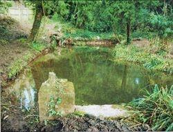 base of statue vandalised at top pond