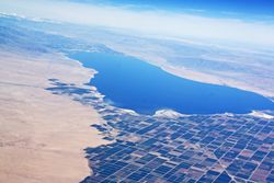 Salton Sea and Imperial Valley from air in CA