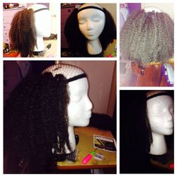 The beginning stage of wig making-student work