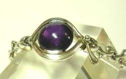 09-00128d Amethyst Cabochon Sterling Link Bracelet