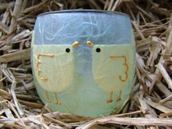 Double Birdee-chick (Large Tea Light Holder)