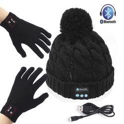 Soft Warm Beanie Hat Wireless Bluetooth Smart Headphone Cap Speaker Mic + Gloves