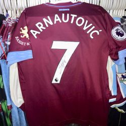 Marko Arnautovic worn and signed poppy shirt.