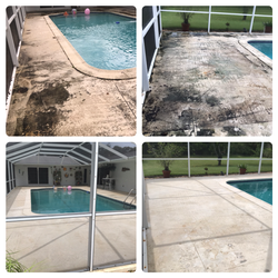 Pool area pressure cleaning
