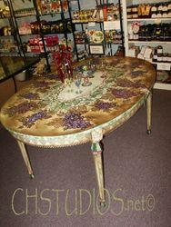 Hand Painted Grape & Vines Dining Table
