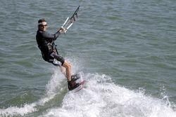 Happy kiteboarder in Tampa Bay