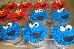Monster face cupcakes $3.50each elmo and cookie monster