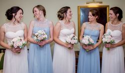 Soft and romantic updo for the pretty bridesmaids at Ravenwood Hall