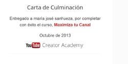 Certificado Curso Maximiza Tu Canal de la Academia de Creadores de Contenido en YouTube.