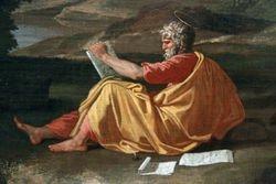 Poussin, St. John on Patmos, Chicago, detail
