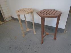"""3-legged tables: 14""""across x 21"""" high  $ 45.00 each"""