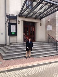 VC standing by the Zabrze Philharmonic's hall, the morning after her concert 2