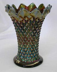 "Diamond Point 6 1/2"" squatty vase, purple"