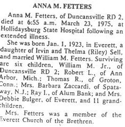 Fetters, Anna M Sell 1975