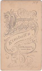 Kimball, photographer of Lowell, MA - back