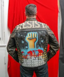 """RESIST jacket"" painted by the artist 2020. reverse view"