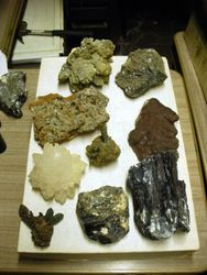 Mineral specimens on flat