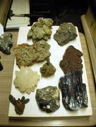 Mineral specimens on flat