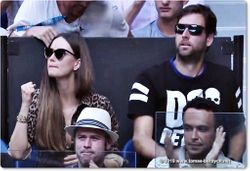 Tomas Berdych's wife, Ester Satorova and coach Martin Stepanek