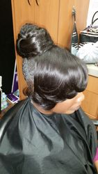 Bun and bangs updo