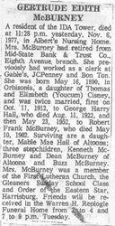 McBurney, Gertrude Cisney Hall 1977