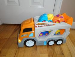Car Transporter Auto Trailer with Lights, Sounds & 4 Cars - $25
