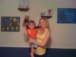 Rachel, Peyton (in the tummy) & Caleb w/ Psalm 139:13-16 and Psalm 127:3-5 paintings in Caleb's room