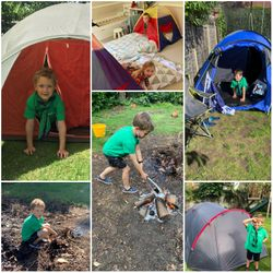 Pitching tents, lighting fires