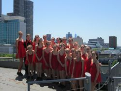 Inspiration gathers before performing on the Intrepid