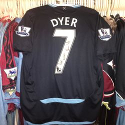 Kieron Dyer worn, unwashed and signed 2009/10 away shirt