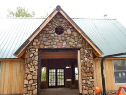 Field Stone veneer on new building at the LoneHawk Farm near Boulder Colorado